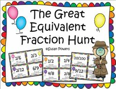 """This is a great get em' up and out of their seats math activity. The children each have a card showing a fraction and they have to communicate with one another in order to find their """"partner"""" or equivalent fractions. Since there are several equivalent fractions, the children will then group themselves with others and finally, in their groups, discuss why they felt that they belonged in the group nd how they were equivalents. Perfect for 3rd-5th grades for a fun fractions review and…"""