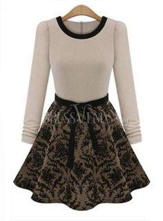 Fashion OL Slim Long Sleeve Round Neck Dress, Sleeve