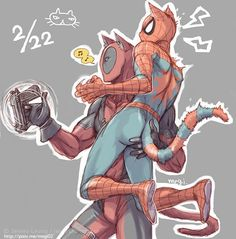 Artist:m on Pixiv title: [DPSP落書き] 猫の日 Spideypool Marvel 3, Marvel Funny, Marvel Memes, Marvel Universe, Deadpool Y Spiderman, Spiderman Art, Sasunaru, Fan Art, Manga