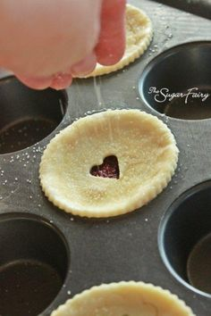 Mini pies in muffin tin. And bake a pie with a heart in the middle, adorable!