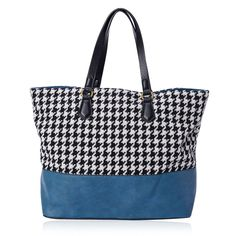 J Francis - Houndstooth Pattern Turquoise Leatherette Handbag (18x5x13 in) | Big-Bold | Promotions | Online Store | Liquidation Channel Site
