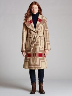 Pendleton Signature Shawl Blanket Coat reflects the style seen in Peruvian Connection's coats like their Hopi-inspired Pueblo Pima Coat (Item #403192) You can easily mix Pendelton styles in with you Peruvian Connection.