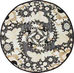 In black, cream, grays and white, this round carpet's shape reflects the design spiraling within. F531-4277