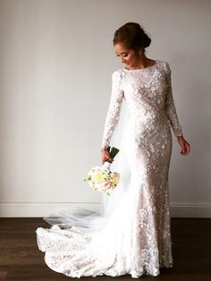 Discount Outstanding Modest Wedding Dresses Gorgeous Lace Mermaid Wedding Dresses With Long Sleeves Chapel Train Modest Bride Gowns Lace Mermaid Wedding Dress, Long Sleeve Wedding, Wedding Dress Sleeves, Tulle Wedding, Bridal Wedding Dresses, Dream Wedding Dresses, Boho Wedding, Trendy Wedding, Lace Weddings