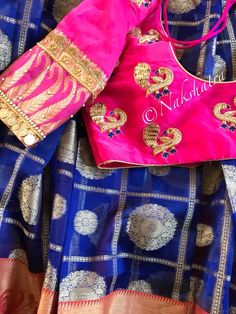 Navy blue and pink combo checks organza saree paired with cute peacock and kasu work combo blouse . Pink color blouse with peacock design hand embroidery gold thread work. For orders and 15 March 2018 White Ruffle Blouse, Navy Blue Blouse, White Shirts Women, Blouses For Women, Sari Design, Peacock Design, Pink Wedding Shoes, Wedding Colors, Wedding Dresses