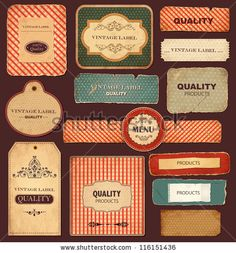 Vector collection: vintage and retro labels - stock vector