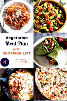A 5 day Vegetarian Meal Plan with easy and healthy vegetarian dinner options and a free grocery shopping list; perfect for cooking on a budget. #easy healthy recipes for<br> Shopping List Grocery, Free Groceries, Vegetarian Meal, Dinner Options, Cooking On A Budget, Easy Healthy Recipes, Healthy Life, Meal Planning, Diet