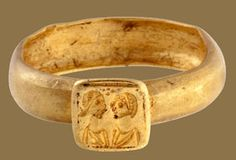 Byzantine ring with a double portrait. Constantinople(?), early 5th century. Gold. This fine gold ring is engraved with the portraits of a married couple. Such rings were very popular in the early Byzantine period and often displayed the facing busts flanking a cross. They appear to have been symbolic tokens of marriage but were not used in wedding ceremonies.