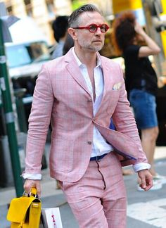 Pink checkered suit