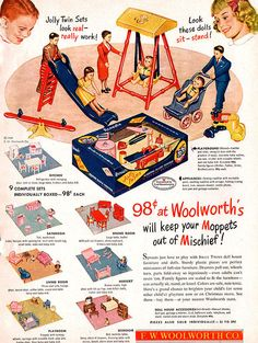 Renwal Jolly Twins Playground WOOLWORTH Appliances KITCHEN 1949 Magazine Ad