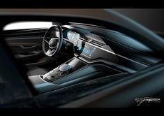 Volkswagen C Coupe GTE Concept Interior Design Sketch Render