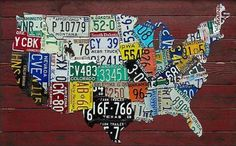 10 Amazing US Map Artworks License plates Map artwork and Room