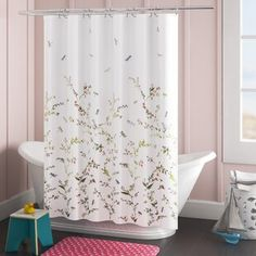 Shower Curtains You'll Love in 2020 | Wayfair Retro Shower Curtain, Luxury Shower Curtain, Shower Curtain Rings, Striped Shower Curtains, Fabric Shower Curtains, Room Maker, Metal Nightstand, Wall Mounted Bookshelves, Create Your House