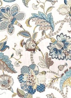 "Finders Keepers French Blue - Floral Jacobean decorator fabric from P. Kaufmann Decorator fabric. Perfect for any upholstery, bedding or window treatment project.  100% Cotton. Repeat; V 27"" x H 27"". 54"" wide"