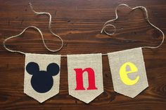 Mickey Mouse ONE Highchair Banner//First Birthday Cake Smash Photo Prop//asher + blaine