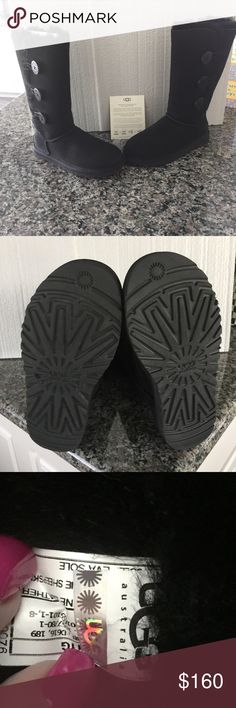 Ugg Bailey Button Black Tall 3 button Ugg Bailey Button boots in black.  Practically brand new as they have been worn once.  Authentic.  From smoke and pet free home. UGG Shoes Winter & Rain Boots