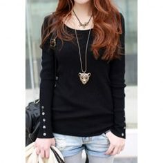 Graceful Scoop Neck Long Sleeves Button Embellished Solid Color Knitwear For Women. $6.00