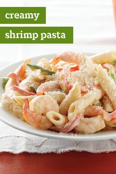 Creamy Shrimp Pasta – A deliciously simple creamy shrimp dish that is big on flavor but easy to make! This dinnertime recipe is perfect for busy weeknights.