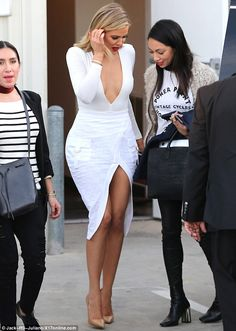 Khloe Kardashian shows off her pert derriere and ample cleavage in plunging white outfit for Kocktails taping   Daily Mail Online
