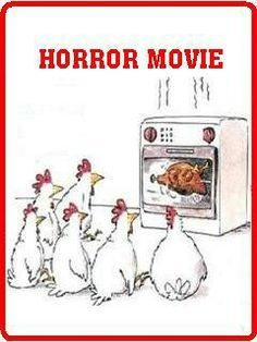 When Chickens Watch Horror Movie - - The Fun Strarts Here - Extremely funny posts, funny pics, funny animals, funny videos, pranks and much more. Cartoon Jokes, Funny Cartoons, Funny Comics, Really Funny Memes, Funny Puns, Haha Funny, Hilarious, Chicken Humor, Funny Chicken