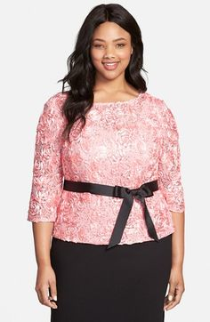 Alex Evenings Belted Rosette Blouse (Plus Size) available at #Nordstrom