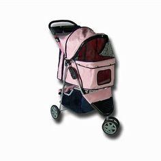 Pet Stroller 3 Wheels Jogging Dog Cat Carrier Folding Pink  Pet Gear Cup Holder
