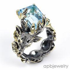 Top 12ct if  Natural Blue Topaz 925 Sterling Silver Ring Size 8.25/R34171 #APBJewelry #Ring