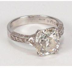 ShopStyle.com: excellent (EX) Platinum 3.79ctw Antique Cushion Cut Diamond Engagement Ring sz 6 $17,800.00