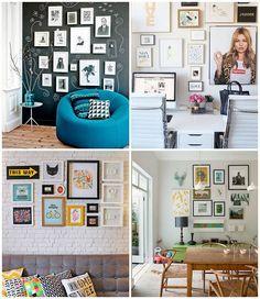 Como montar a parede de quadros perfeita - parede quadros tinta lousa