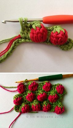 "dutchcrochet: "" tammybobammy: "" check out this yummy crochet strawberry stitch tutorial  maybe as a cuff on a beanie or mitts? A drawstring bag? What are your ideas??  "" strawberries how sweet """