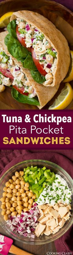 Tuna & Chickpea Pita Pockets are the perfect lunch or quick and easy dinner.  I love the addition of chickpeas to a traditional tuna salad!