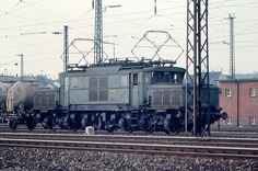 """https://flic.kr/p/6b6qnr   Heilbronn - E 93 Electric Locomotive   Class E 93 (later 193) electric locomotive was a heavy-duty freight locomotive.  It was sometimes called the German """"crocodile,"""" because of its resemblance to a Swiss locomotive.  18 units were built between 1933 and 1939.  It often operated on the """"Geislinger Steige,"""" a steep climb on the rail line between Stuttgart and Munich.  This photo was taken in the Heilbronn station yard."""