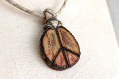 Peace Sign Necklace  Handmade Wood w/ Hemp by EtinifniCreations, $35.00