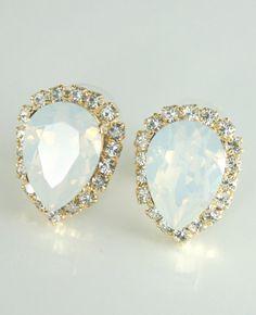 White opal earrings Crystal earrings Swarovski