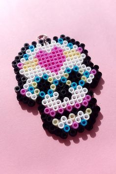 Mini Hama/Perler/Fuse Bead Kawaii Heart Skull Necklace