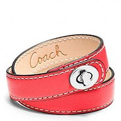 Coach Leather Double Wrap Turnlock Bracelet - in Bright Coral, to match my Tanner tote :)