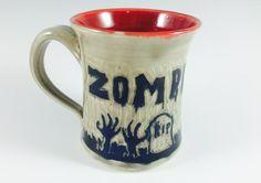 Handmade Zombie Apocalypse Coffee Mug Halloween by ZwellynPottery