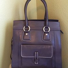 TALBOTS- bag BEAUTIFUL structured 100%leather deep brown bag. 12x12x6. Inside zip pocket- two more pockets and one in front. Zips closed. Like new!!!! Talbots Bags Satchels