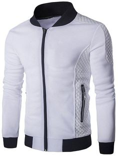 Argyle and Rib Splicing Stand Collar Zip-Up Jacket