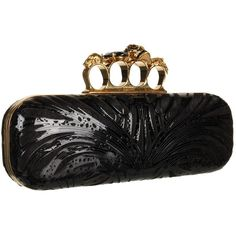 Alexander McQueen Knuckle Box Clutch ($2,070) ❤ liked on Polyvore featuring bags, handbags, clutches, purses, accessories, bolsas, skull handbag, skull box clutch, knuckle box clutch and skull purse