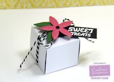 Designed by Lori Barnett. Tutorial available at @CraftersCompUS Blog. Super easy to create using The Ultimate Crafter's Companion along with The Boxer board and some beautiful Shimmering Cardstocks. #CraftersCompanion #SweetTreatsCube #DIYPartyFavors #TheUltimateCraftersCompanion
