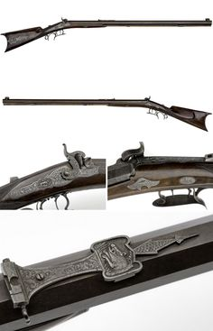 An ornately engraved percussion target rifle crafted by A. Escherich or Baltimore, mid 19th century.