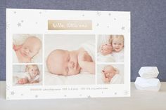 Silver Stars Foil-Pressed Birth Announcements by Frooted Design at minted.com