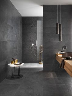 Luxury Bathroom Master Baths Wet Rooms is entirely important for your home. Whether you pick the Luxury Bathroom Ideas or Luxury Bathroom Master Baths Paint Colors, you will make the best Luxury Master Bathroom Ideas for your own life. Luxury Master Bathrooms, Dark Bathrooms, Modern Bathroom Tile, Natural Bathroom, Bathroom Tile Designs, Dream Bathrooms, Bathroom Interior Design, Bathroom Ideas, Master Baths