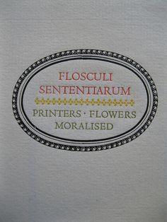 Flosculi Senentirarum, title page by Leonard Baskin.