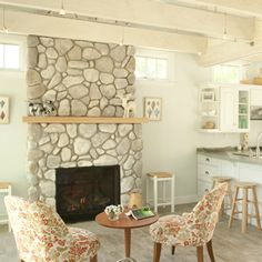 7 - Now here's a small house fireplace, with river rock!