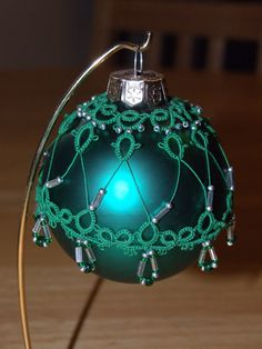 Tatted Christmas Ball  No13  Green by TattedTidbit on Etsy, $15.00