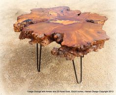 RARE Osage Orange Burl Coffee Table w Amber and Gold Inlay Wood Slab Live Edge | eBay Live Edge Wood, Live Edge Table, Wood Slab, Inlay Wood, Made Coffee Table, Log Bed, Make A Table, Got Wood, Moose Art