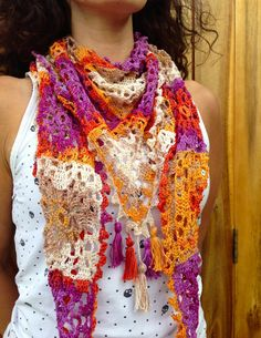 Shop for on Etsy, the place to express your creativity through the buying and selling of handmade and vintage goods. Crocheted Scarf, Crochet Scarves, Crochet Ideas, Crochet Projects, Granny Style, Bonnets, Hula, Shawls, Crochet Necklace