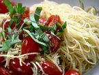 Ina's Capellini with Tomatoes and Basil.  (Made this several times.  Used Ronzoni Healthy Harvest Thin Spaghetti and aged goat cheese (LaClare Farms Evalon - from Farmers Market) along with the parmesan cheese.  If do not have fresh thyme use 1 tsp dried.)